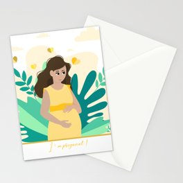 I'm pregnant! Pregnancy announcement illustration Stationery Cards