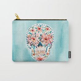 FLOWER POP Skull Watercolor Carry-All Pouch