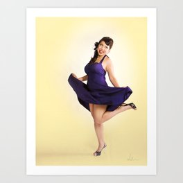 """""""Flirt Skirt"""" - The Playful Pinup - Cheesecake Pinup Smile in Purple Dress by Maxwell H. Johnson Art Print"""