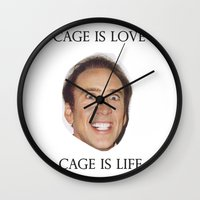 nicolas cage Wall Clocks featuring Cage is Love // Cage is Life by Jared Cady