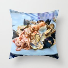 Seafood risotto Throw Pillow