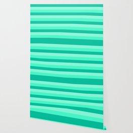 Teal, Sea foam Green, & Mint Medium Stripes Wallpaper