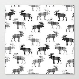 Moose Trot // Black & White Plaid Canvas Print
