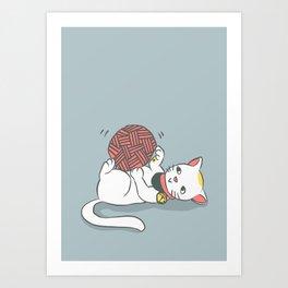 Playful Maneki Neko Art Print