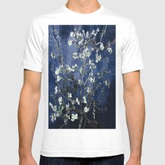 Vincent Van Gogh Almond Blossoms Dark Blue White Mens Fitted Tee MEDIUM