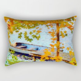 Boat Under Falling Leaves Rectangular Pillow