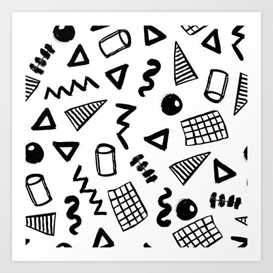 Black and white shapes minimal linocut pattern graphic scandi design Art Print