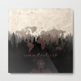 world map wanderlust forest Metal Print