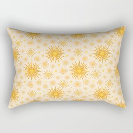 Abstract Hand-painted Golden Fireworks, Vintage Festive Pattern with Beautiful Acrylic Texture, Gold and Light Beige Color Rectangular Pillow