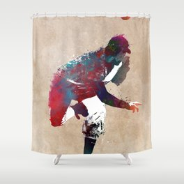 Baseball player 9 #baseball #sport Shower Curtain
