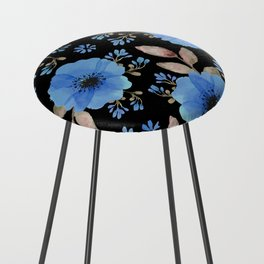 Blue flowers with black Counter Stool
