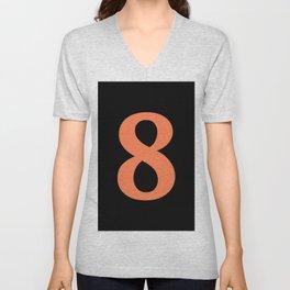 8 (CORAL & BLACK NUMBERS) Unisex V-Neck