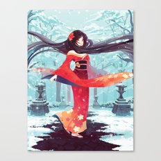 A walk in the asian winter Canvas Print