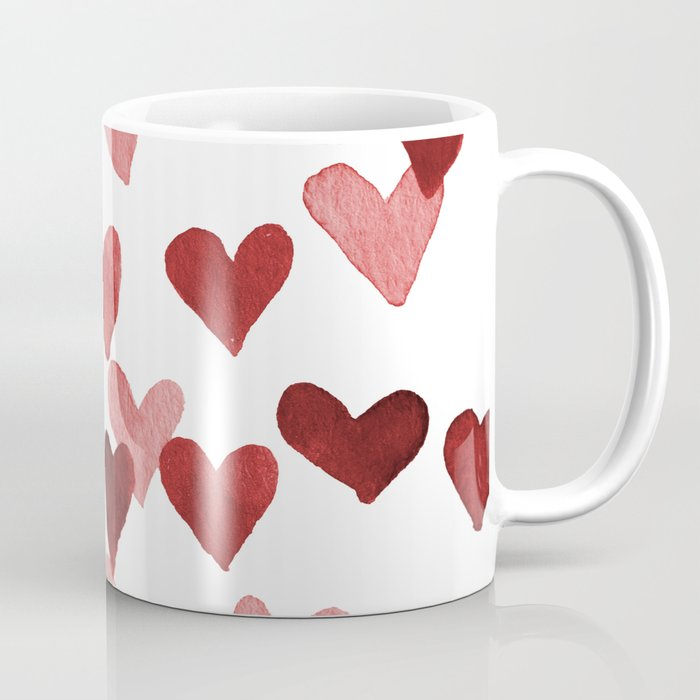 Valentine's Day Watercolor Hearts - red Kaffeebecher