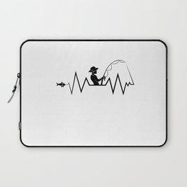 Hearbeat Of A Fisherman Heartrate Fishing Hobby Laptop Sleeve