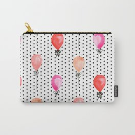 Balloons painted in watercolor on polka dots pattern minimal valentines love gifts Carry-All Pouch