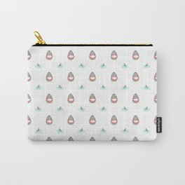 Shark Heads & Fins in Grey on White With Aqua Ripples Carry-All Pouch