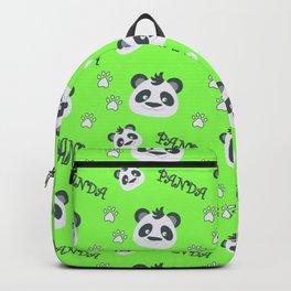 Panda's footprint on green Backpack