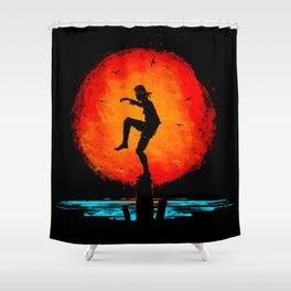 Minimalist Karate Kid Tribute Painting Shower Curtain