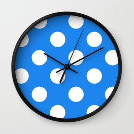 Large Polka Dots - White on Dodger Blue Wall Clock