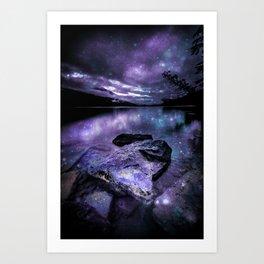 Magical Mountain Lake Purple Teal Art Print