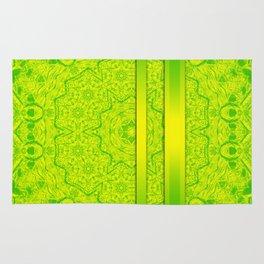 Vibrant green mandala and ribbons Rug