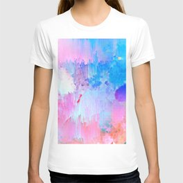 Abstract Candy Glitch - Pink, Blue and Ultra violet #abstractart #glitch T-shirt