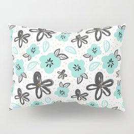 Mint and black flowers Pillow Sham