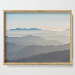 Foggy Mountains in the Distance (Color) Serving Tray