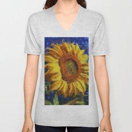 Sunflower In Van Gogh Style Unisex V-Neck