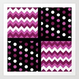 Black/Two-Tone Mulberry/White Chevron/Polkadot Art Print