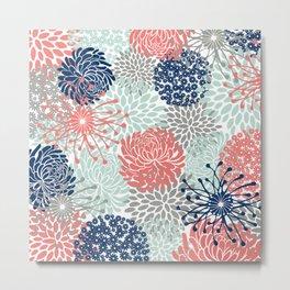 Floral Print - Coral Pink, Pale Aqua Blue, Gray, Navy Metal Print