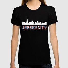 Red White Blue Jersey City New Jersey Skyline T-shirt