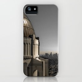 Griffith Park Observatory with Downtown LA Skyline iPhone Case