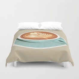 Coffee with Latte Art Polygon Art Duvet Cover