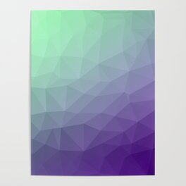 Purple green ombre gradient geometric mesh Poster