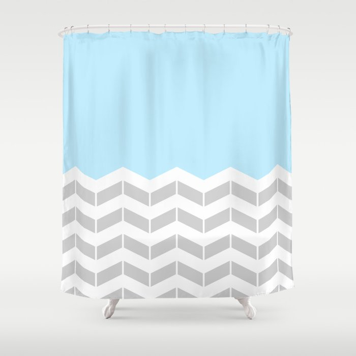 Grey White Blue Half Chevron Shower Curtain
