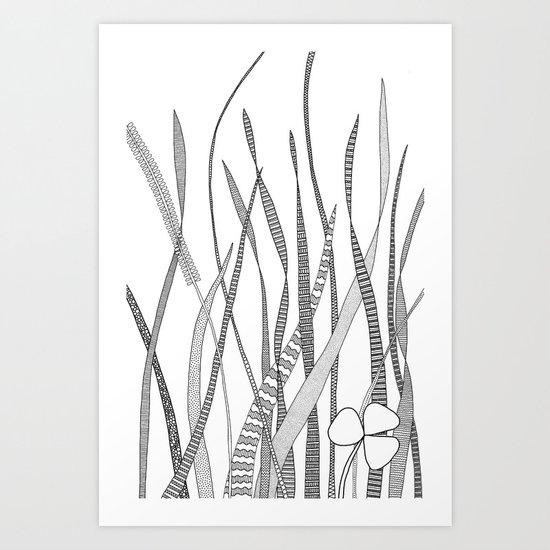 Summer Grass B&W Art Print