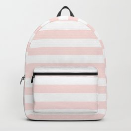 Narrow Horizontal Stripes - White and Pastel Pink Backpack