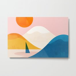 Abstraction_Lake_Sunset_Minimalism_002 Metal Print