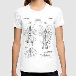 Cork Screw Patent - Wine Art - Black And White T-shirt