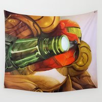 metroid Wall Tapestries featuring Metroid by Jade Artworks
