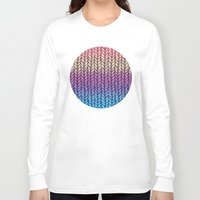 knit Long Sleeve T-shirts featuring Rainbow Gradient Chunky Knit Pattern by micklyn