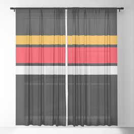TEAM COLORS 2.....red,black,orange and white Sheer Curtain