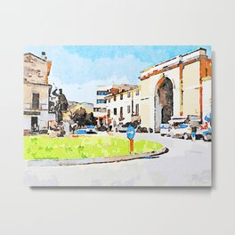 Teramo: square with monument and city gate Metal Print