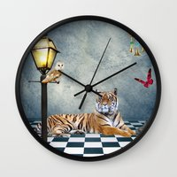 relax Wall Clocks featuring Relax by haroulita