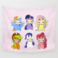 my little pony Wall Tapestries featuring A Boy - Little Pony by Christophe Chiozzi