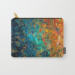 ETERNAL TIDE 2 Rainbow Ombre Ocean Waves Abstract Acrylic Painting Summer Colorful Beach Blue Orange Carry-All Pouch