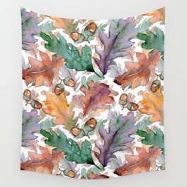 Colorful Watercolor Oak And Acorn Pattern Wall Tapestry