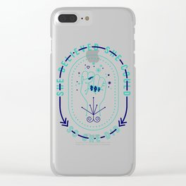 She Believed – Navy & Turquoise Palette Clear iPhone Case